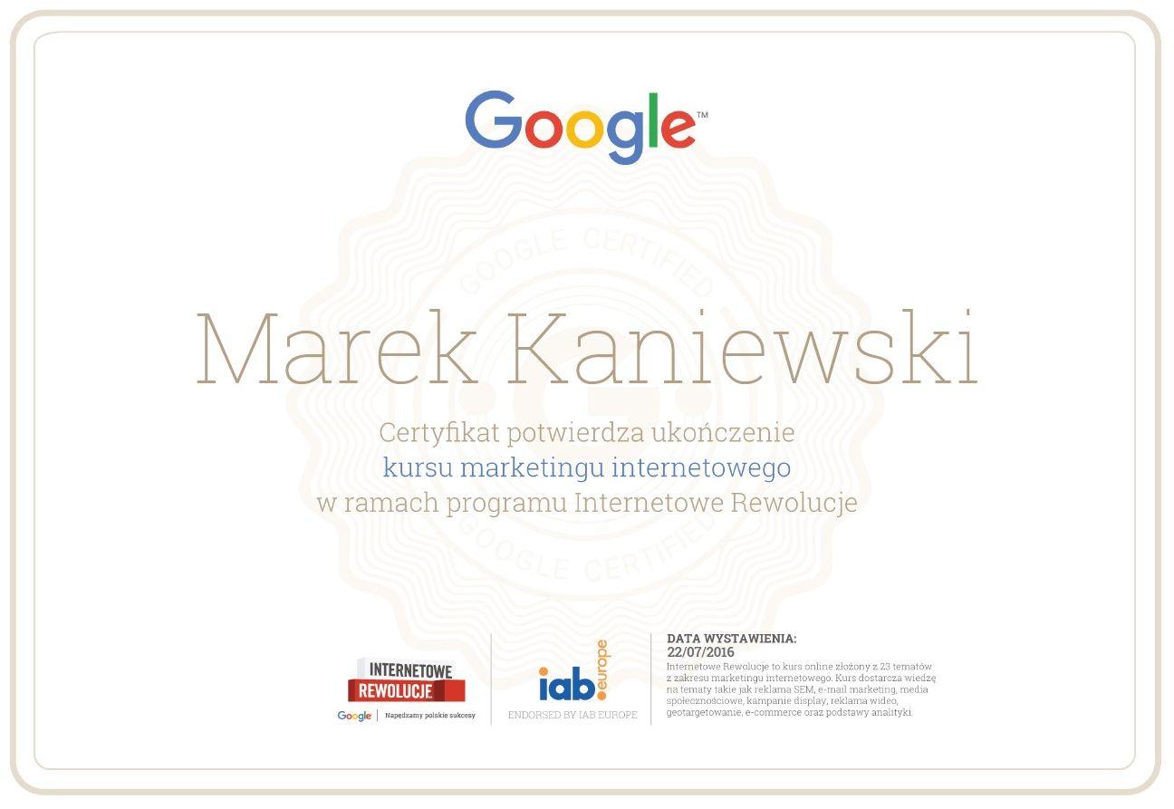 Certyfikat Internetowe Rewolucje Google